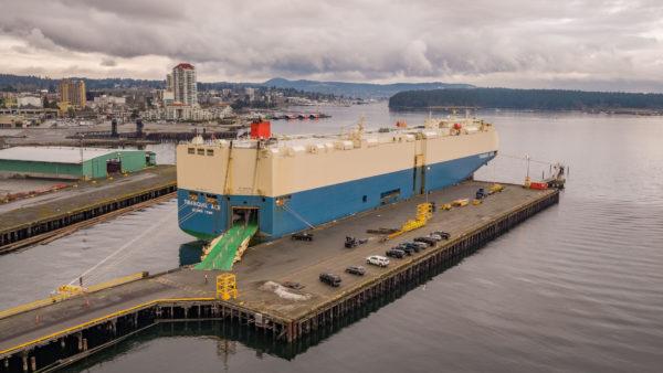 Vehicle Processing Centre Barge at Port of Nanaimo