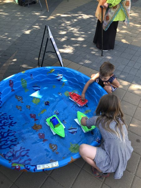Indigenous Day - cleaning a miniature oil spill