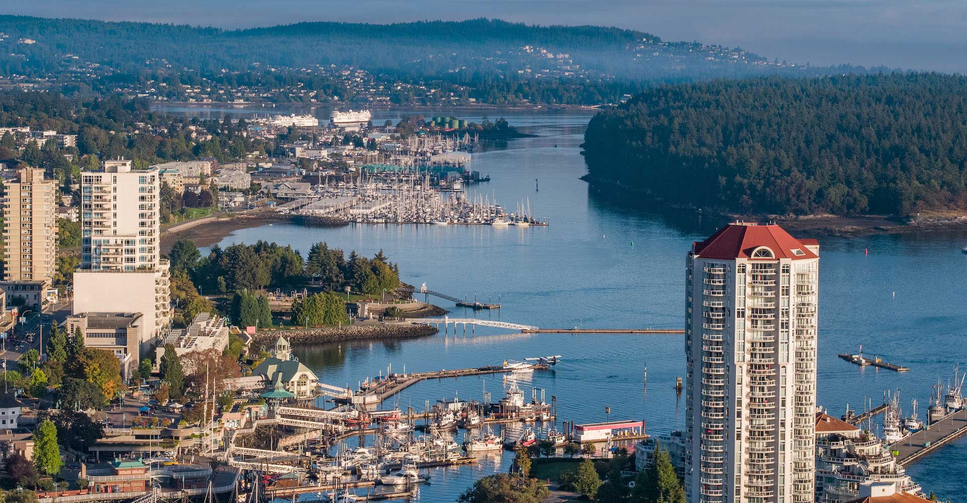 Ariel View of the Nanaimo Harbour and surrounding area.